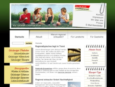 """Website """"Salzburger Landwirtschaft"""""""